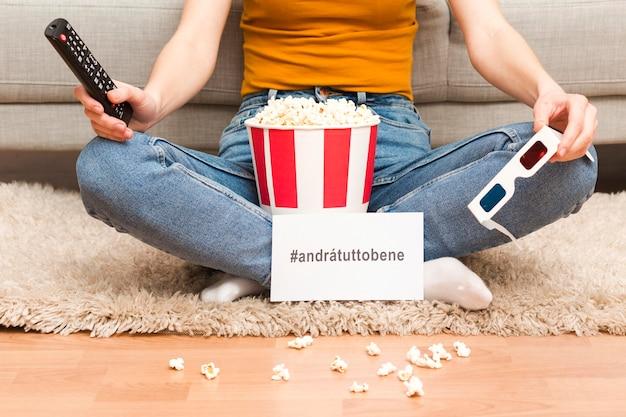 Nahaufnahme weiblich mit popcorn