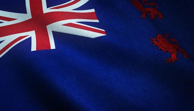 Nahaufnahmeaufnahme der britischen flagge mit interessanten texturen