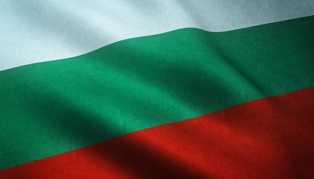 Nahaufnahmeaufnahme der flagge von bulgarien