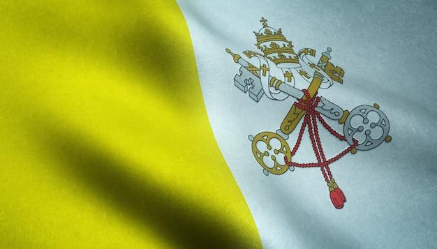 Nahaufnahmeaufnahme der realistischen flagge der vatikanstadt