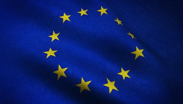 Nahaufnahmeaufnahme der realistischen wehenden flagge europas mit interessanten texturen