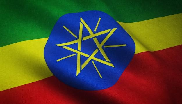 Nahaufnahmeaufnahme der realistischen wehenden flagge von äthiopien mit interessanten texturen