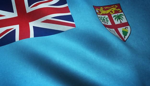 Nahaufnahmeaufnahme der realistischen wehenden flagge von fidschi mit interessanten texturen