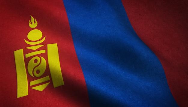 Nahaufnahmeaufnahme der wehenden flagge der mongolei mit interessanten texturen