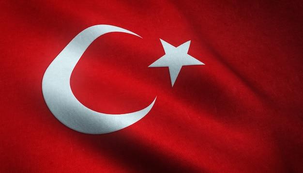 Nahaufnahmeaufnahme der wehenden flagge der türkei mit interessanten texturen