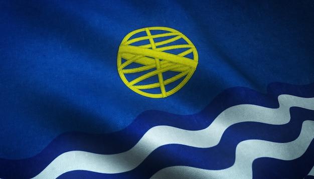Nahaufnahmeaufnahme der wehenden flagge des atlantischen ozeans mit interessanten texturen