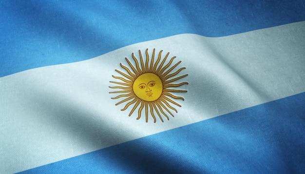 Nahaufnahmeaufnahme der wehenden flagge von argentinien mit interessanten texturen
