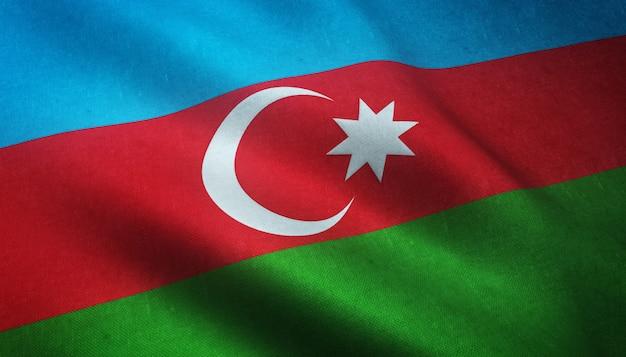 Nahaufnahmeaufnahme der wehenden flagge von aserbaidschan mit interessanten texturen