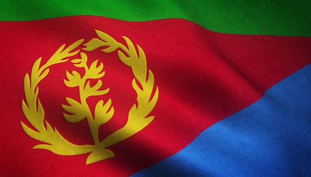 Nahaufnahmeaufnahme der wehenden flagge von eritrea mit interessanten texturen