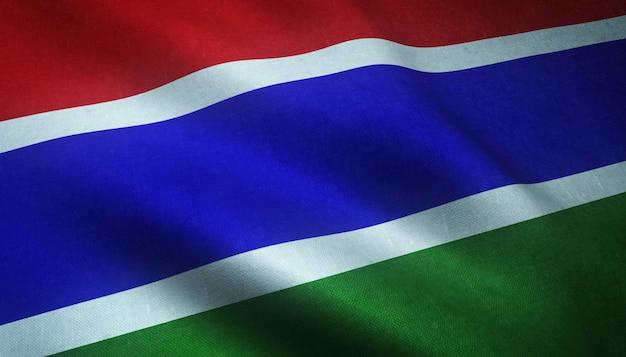 Nahaufnahmeaufnahme der wehenden flagge von gambia mit interessanten texturen