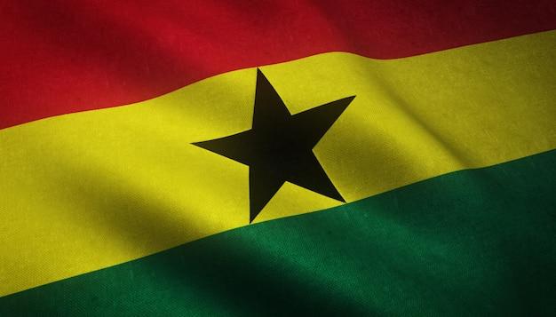 Nahaufnahmeaufnahme der wehenden flagge von ghana mit interessanten texturen