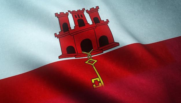 Nahaufnahmeaufnahme der wehenden flagge von gibraltar mit interessanten texturen