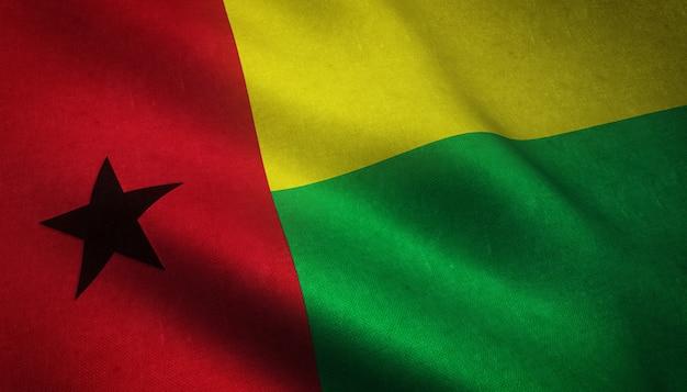 Nahaufnahmeaufnahme der wehenden flagge von guinea-bissau mit interessanten texturen