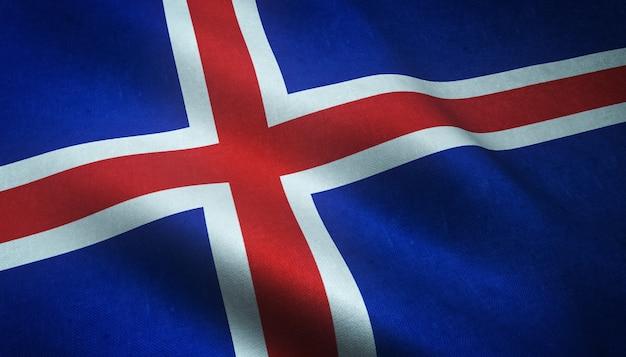 Nahaufnahmeaufnahme der wehenden flagge von island mit interessanten texturen