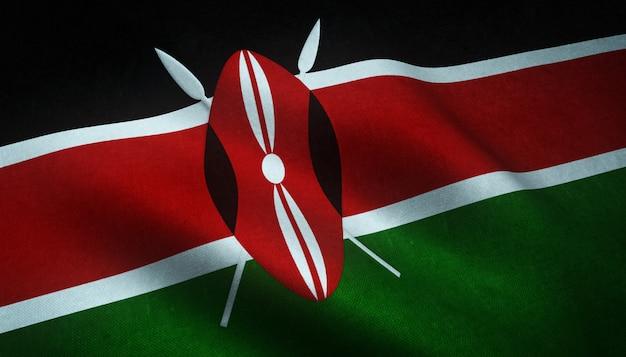 Nahaufnahmeaufnahme der wehenden flagge von kenia mit interessanten texturen