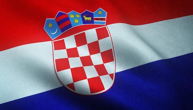 Nahaufnahmeaufnahme der wehenden flagge von kroatien mit interessanten texturen
