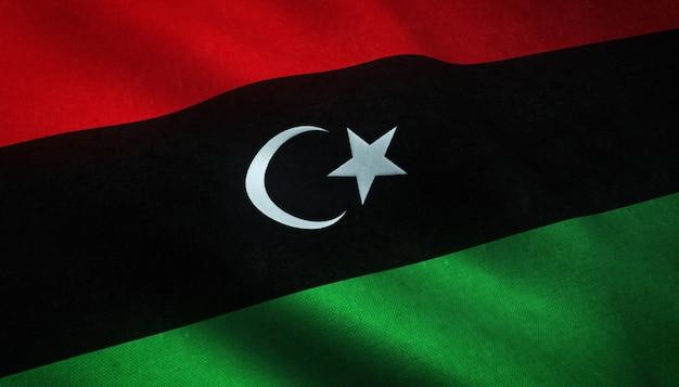 Nahaufnahmeaufnahme der wehenden flagge von libyen mit interessanten texturen