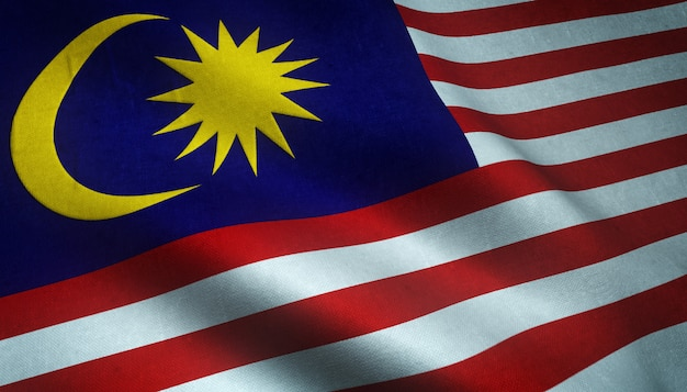 Nahaufnahmeaufnahme der wehenden flagge von malaysia mit interessanten texturen