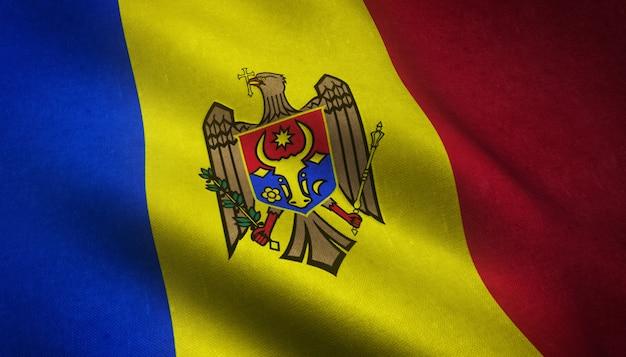 Nahaufnahmeaufnahme der wehenden flagge von moldawien mit interessanten texturen