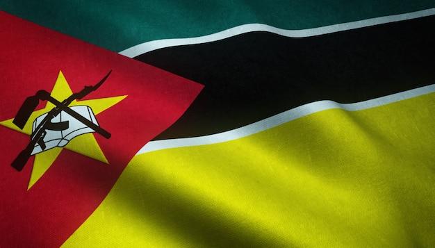 Nahaufnahmeaufnahme der wehenden flagge von mosambik