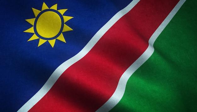 Nahaufnahmeaufnahme der wehenden flagge von namibia mit interessanten texturen