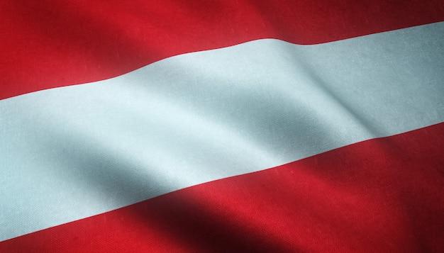 Nahaufnahmeaufnahme der wehenden flagge von österreich mit interessanten texturen