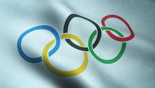 Nahaufnahmeaufnahme der wehenden olympischen flagge mit interessanten texturen