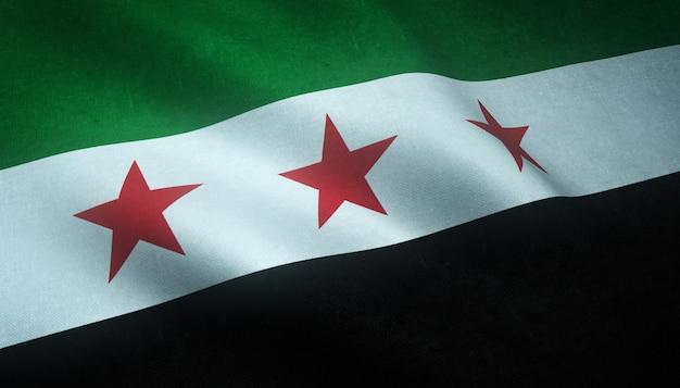 Nahaufnahmeaufnahme der wehenden unabhängigkeitsflagge von syrien mit interessanten texturen