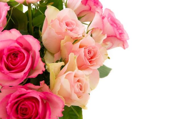 Nahaufnahmeaufnahme des rosa rosenstraußes lokalisiert auf einem weißen hintergrund mit einem kopienraum