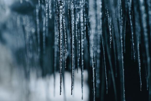 Nahaufnahmeaufnahme von hängenden stacheligen gefrorenen eiszapfen