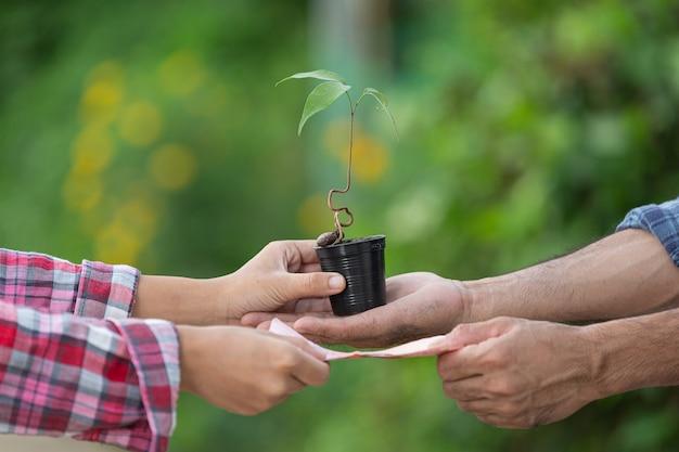 Nahaufnahmebild des geldwechsels mit pflanzen zwischen kunde und verkäufer
