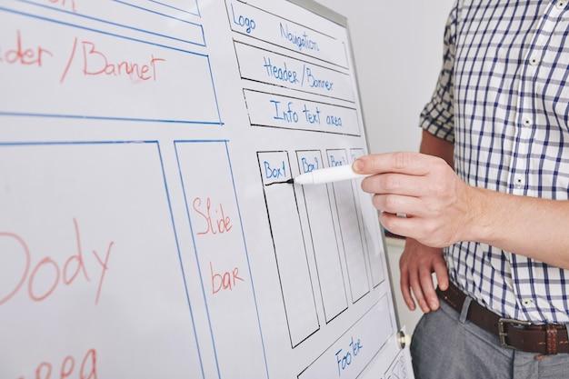 Nahaufnahmebild des ui-designers, der modell der neuen schnittstelle auf whiteboard zeichnet