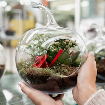 Nahaufnahmeflorist mit transparenter kugelförmiger vase