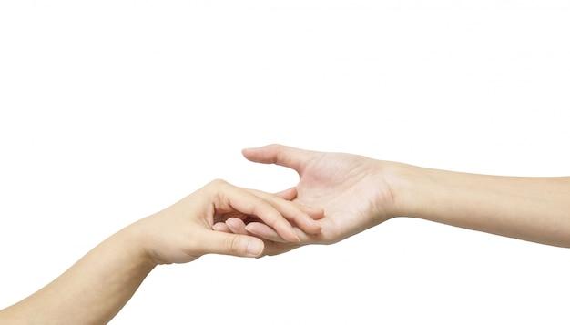 Nahaufnahmefrauenhandgriff eine andere hand lokalisiert auf weiß