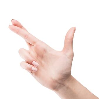 Nahaufnahmehand mit den gekreuzten fingern