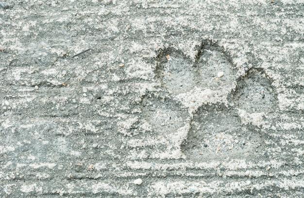 Nahaufnahmehundeabdruck am schmutzigen zementboden-beschaffenheitshintergrund