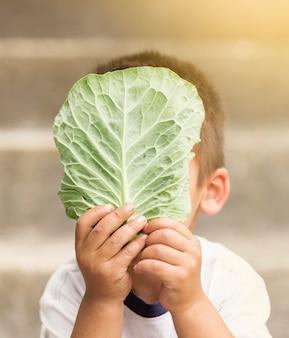 Nahaufnahmekind, das salatblatt hält