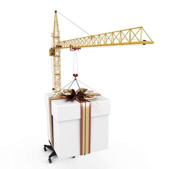 Nahaufnahmekranich mit hängendem geschenk lokalisiert in der 3d illustration