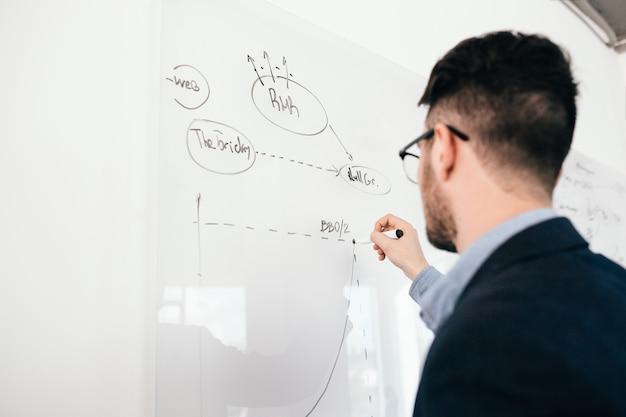 Nahaufnahmeporträt des jungen dunkelhaarigen mannes in den gläsern, die einen geschäftsplan auf whiteboard schreiben. blick von hinten, fokus auf hand.