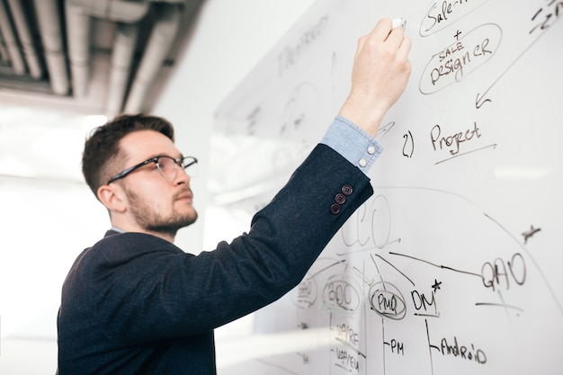 Nahaufnahmeporträt des jungen dunkelhaarigen mannes in den gläsern, die einen geschäftsplan auf whiteboard schreiben. er trägt ein blaues hemd und eine dunkle jacke. blick von der seite, fokus auf der hand.