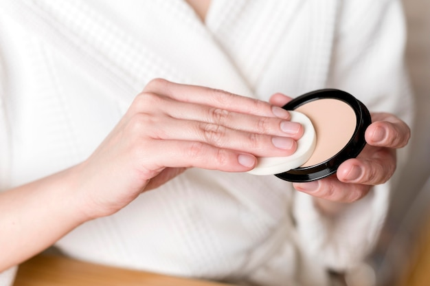 Nahaufnahmepuder zum schminken
