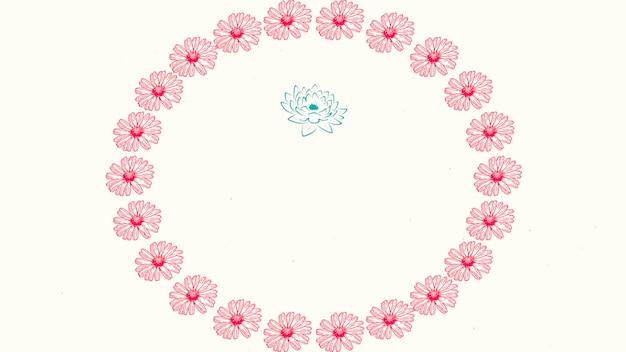 Nahaufnahmeweinlesekreis von roten blumen, hochzeitshintergrund. eleganter und luxuriöser pastell-3d-illustrationsstil für hochzeit oder romantisches thema