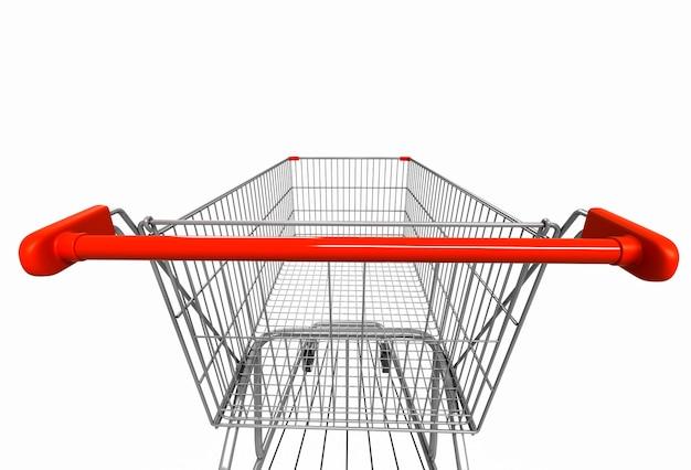 Nahaufnahmeweitwinkelbild der hinteren ansicht des einkaufswagens auf weiß. 3d-rendering