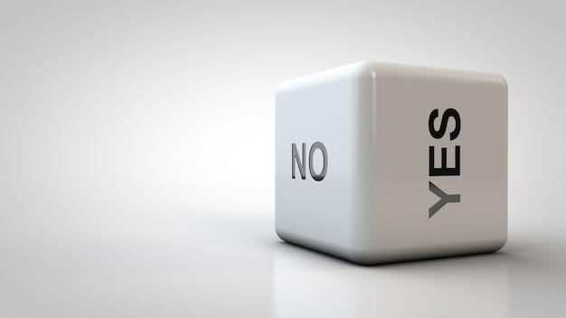 Nahaufnahmewürfel mit antwortmöglichkeiten. die antwort lautet ja oder nein.