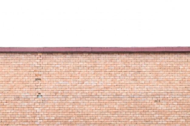 Nahaufnahmeziegelsteinmuster an der alten braunen steinbacksteinmauer lokalisiert auf weißem hintergrund