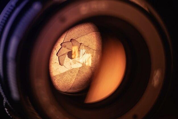 Nahkameraobjektiv mit geschlossener blende