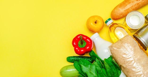 Nahrungsmittelversorgung. grundnahrungsmittel: öl, konserven, getreide, milch, gemüse, obst. flache lage. speicherplatz kopieren