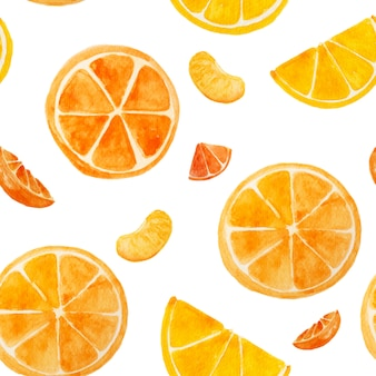 Nahtlos von der orange wasserfarbfarbe auf weißem isolathintergrund. im sommer tropische lieblingsfrucht.