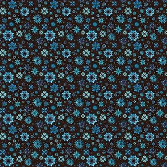 Nahtlose aquarell romantische mandala abstrakte blumen aquamarines blaues blumenmuster auf braunem hintergrund. helle aquarellillustration. textur im boho-stil. druck für geschenkpapier, tapeten, textilien.