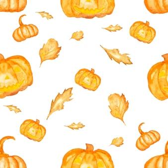 Nahtlose aquarellfarbe von halloween. kürbis und getrocknetes blatt.